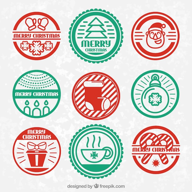 Red and green christmas badges