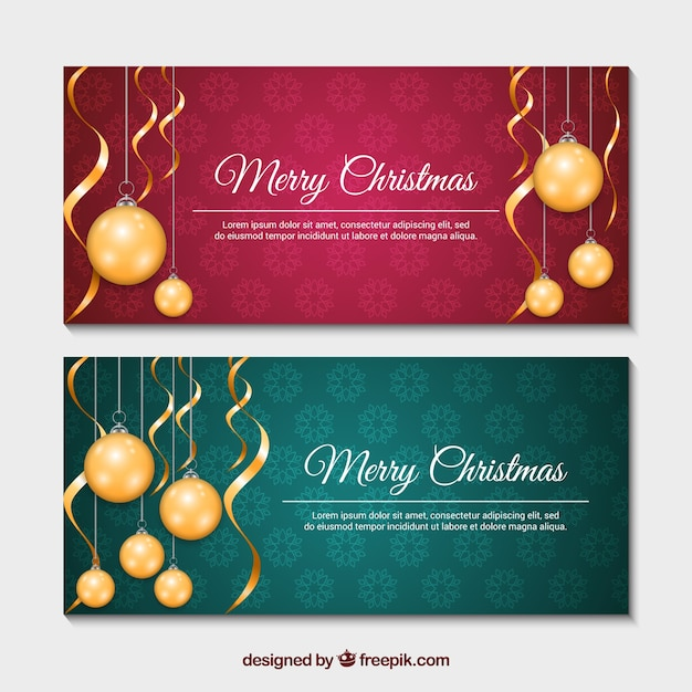 Red and green christmas banners with realistic baubles