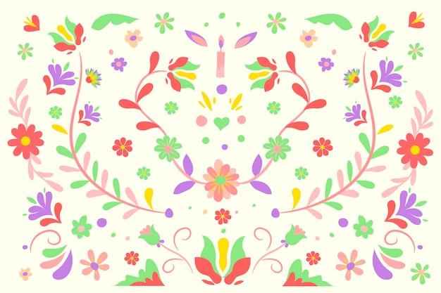 잎 멕시코 배경으로 빨간색과 초록색 꽃 무료 벡터