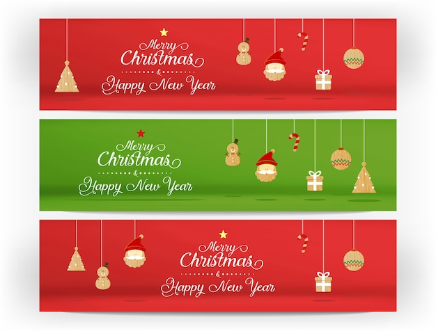 red and green merry christmas and happy new year and icon banner template holiday