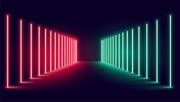 빨간색과 초록색 네온 빛 무대 무료 벡터