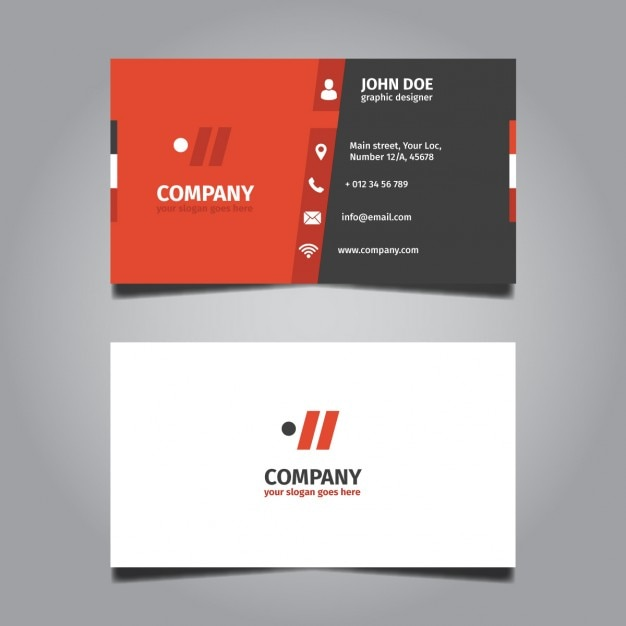 Red And Grey Corporate Business Card Free Vector
