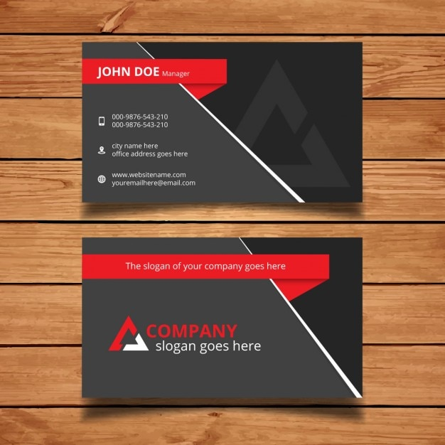 Red and grey modern business card template Vector | Free Download