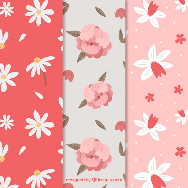Red and pink collection of spring patterns Free Vector