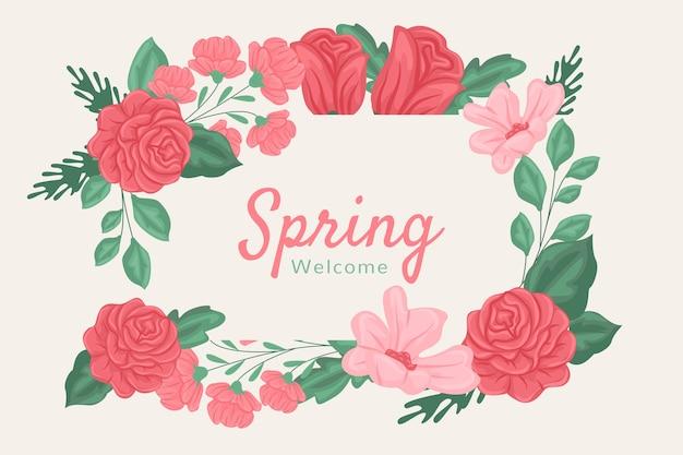 Красные и розовые весенние цветы фон Бесплатные векторы