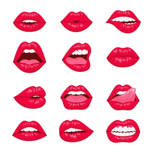赤とローズのキスと笑顔の漫画の唇の装飾的なアイコン。さまざまな感情を持つセクシーな女性の唇。 Premiumベクター