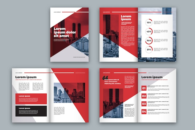 Красный и белый макет брошюры Бесплатные векторы