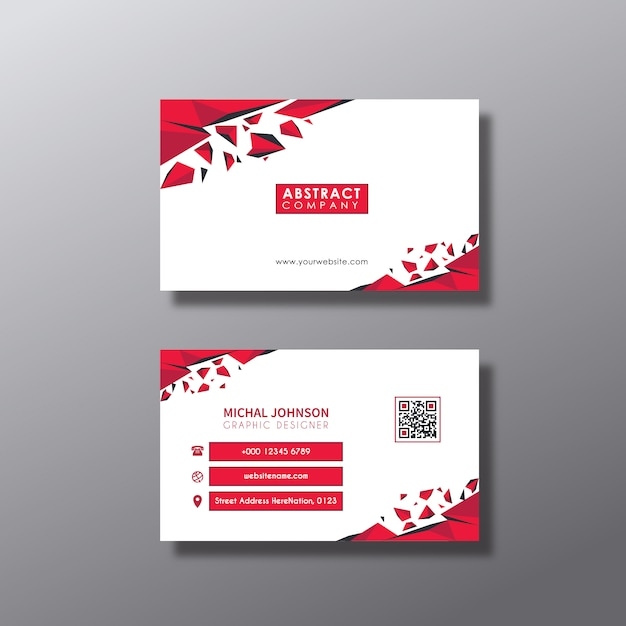 Red And White Business Card Design Free Vector