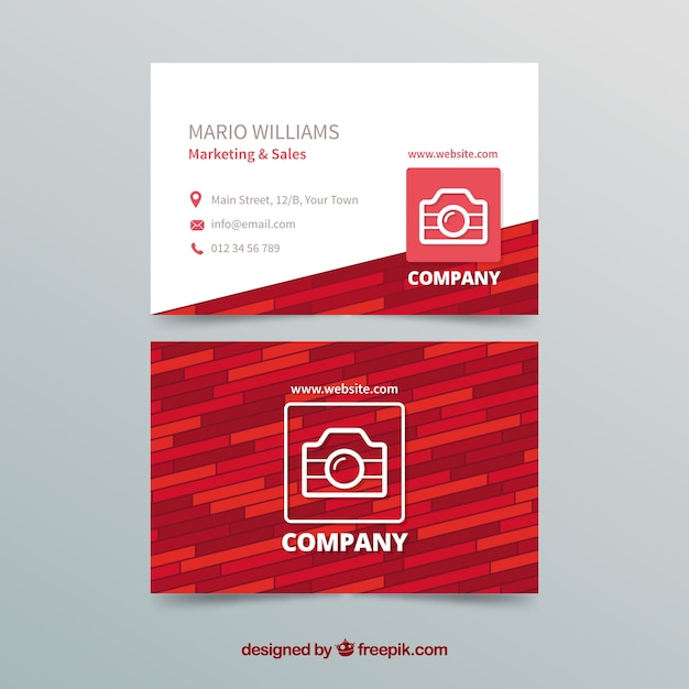 Red and white business card template Free Vector