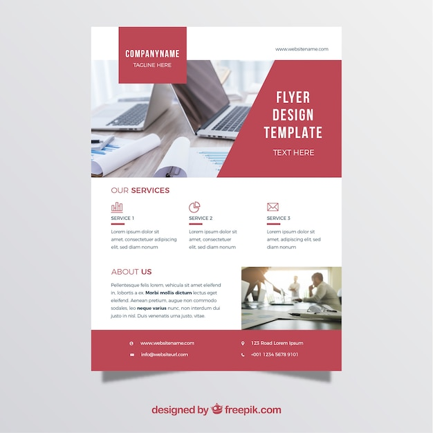 Red And White Business Flyer Template Vector  Free Download