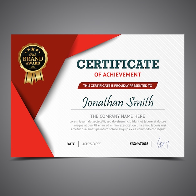 Red and white certificate template vector free download red and white certificate template free vector cheaphphosting Images