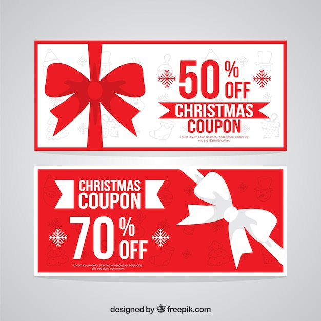 Red And White Christmas Coupons Vector Free Download