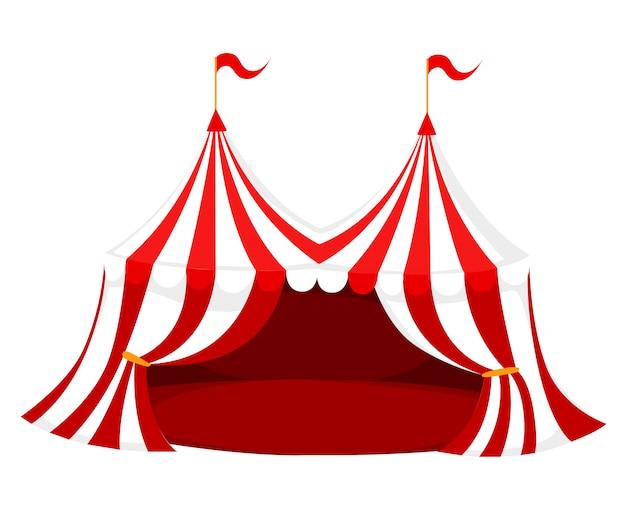 フラグと白い背景のwebサイトページとモバイルアプリの赤い床図と赤と白のサーカスやカーニバルのテント Premiumベクター