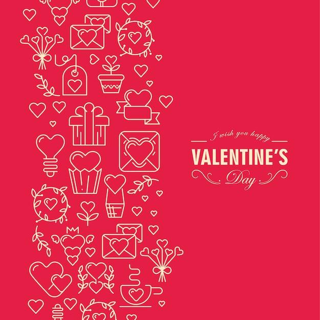 要素とテキストイラストと赤と白の色のバレンタインデーカード 無料ベクター