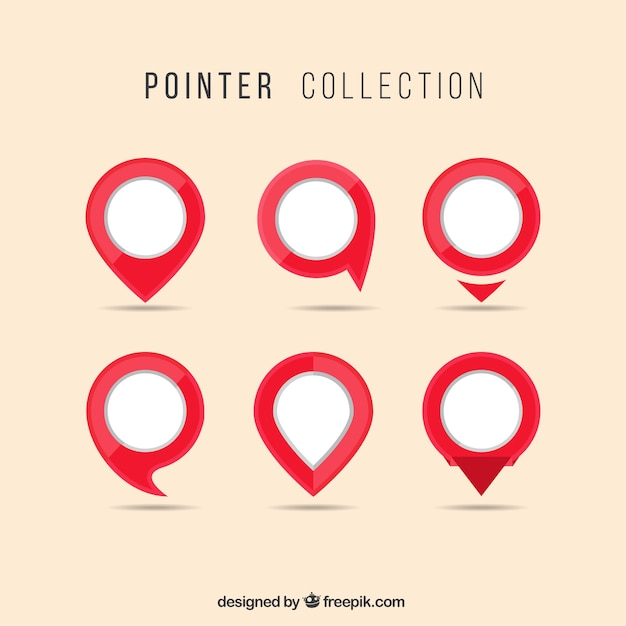 Red and white pointer collection Free Vector