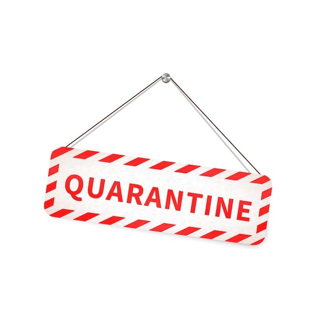 白のロープにぶら下がっている赤と白の検疫警告サイン Premiumベクター