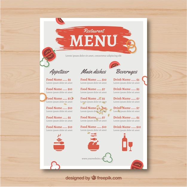 Red and white restaurant menu template Vector   Free Download