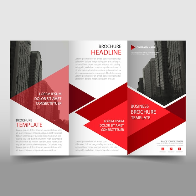 Red and white trifold business brochure template vector for Free business brochure templates download