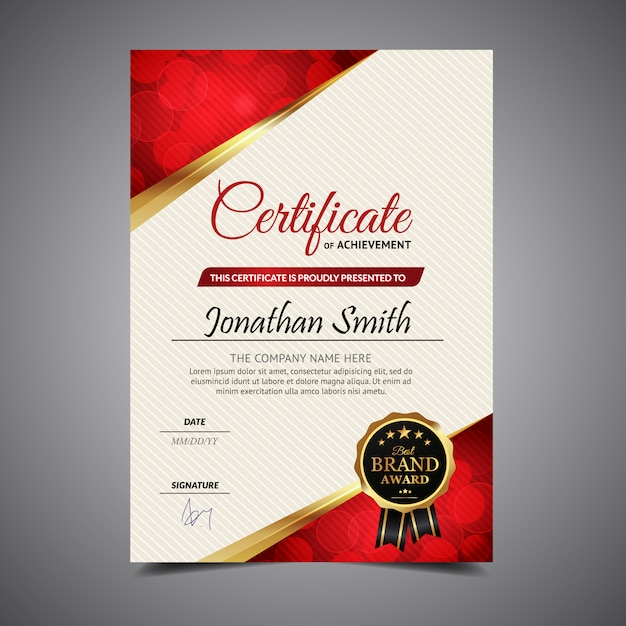 Red And White Vertical Certificate Vector Free Download