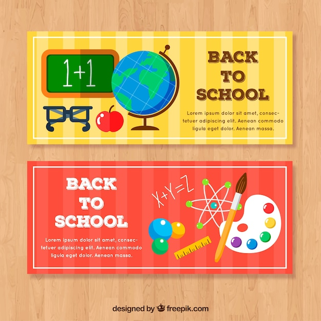 Red and yellow back to school banners in flat design