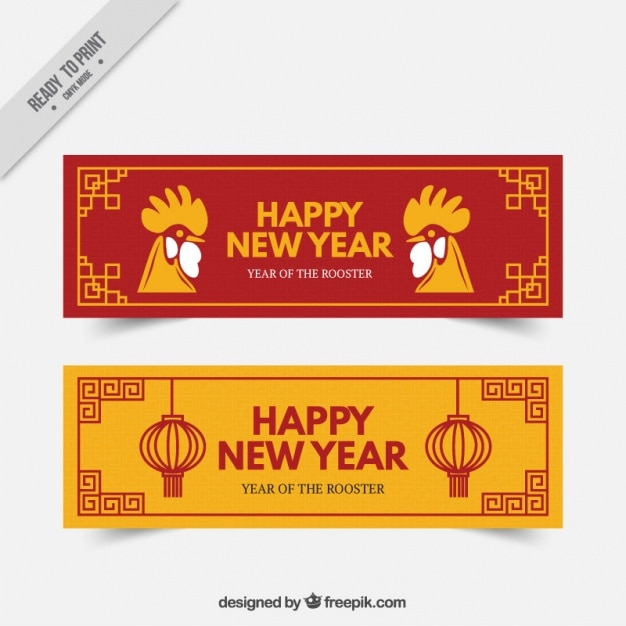 red and yellow banners for chinese new year free vector