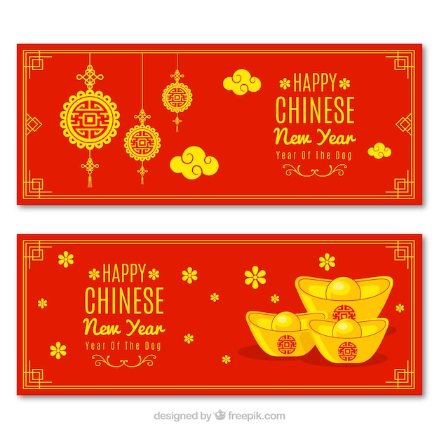 red and yellow chinese new year banners free vector
