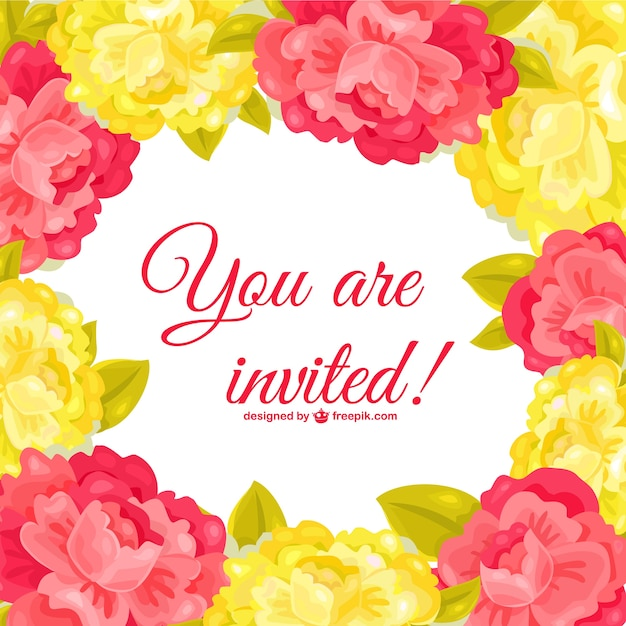 Red and yellow flowers invitation