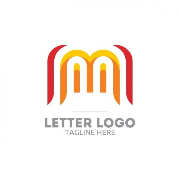 赤と黄色の文字のロゴ 無料ベクター