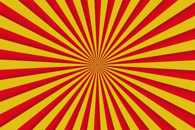 赤と黄色の光線、レトロなコミックポスター Premiumベクター