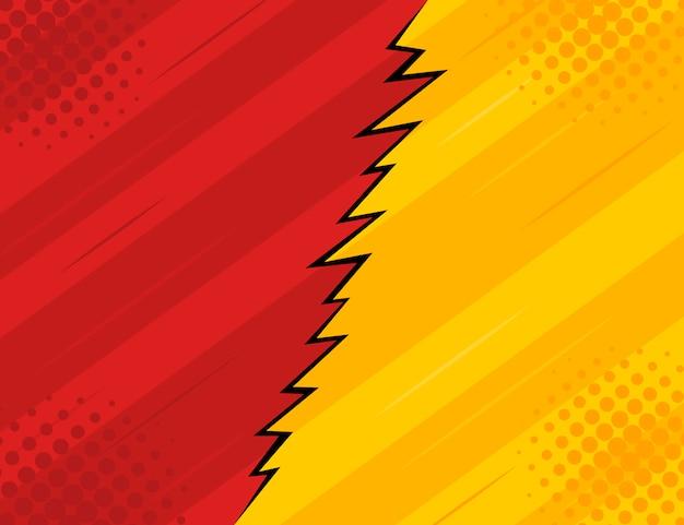 빨간색과 노란색 복고 빈티지 스타일 배경 광선 및 번개. 프리미엄 벡터