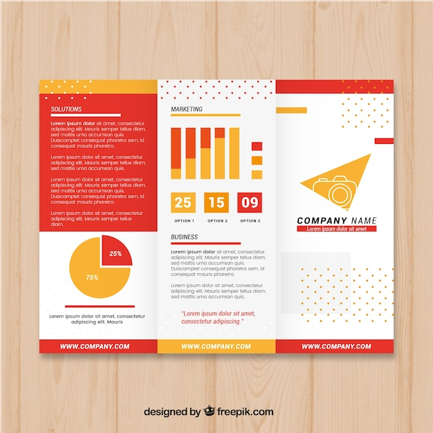 red and yellow trifold business brochure template vector free download