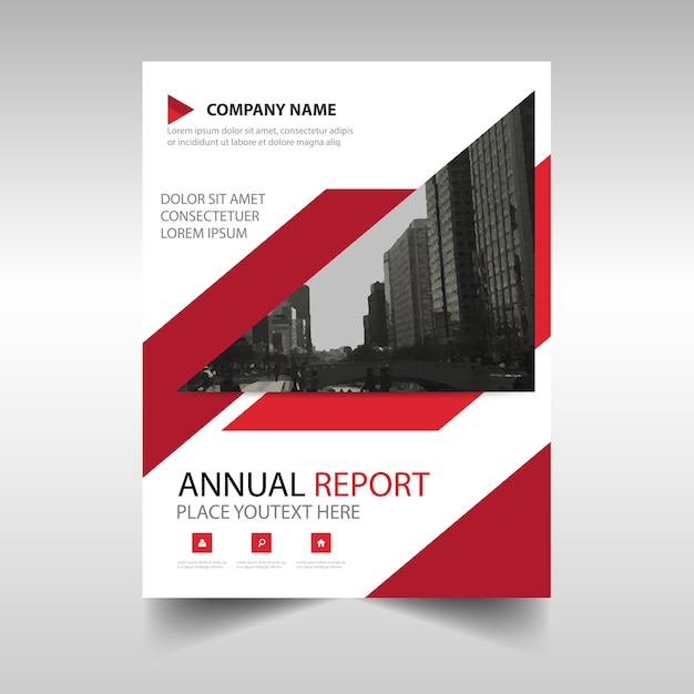 Red annual report book cover template Vector – Report Cover Template Free