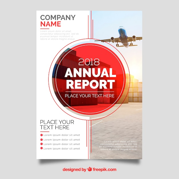 Red annual report cover with image Free Vector