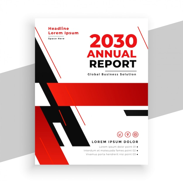 Red annual report professional brochure template Free Vector