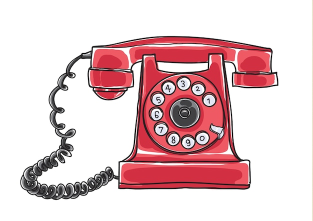 Red antique rotary dial telephone hand drawn vector Premium Vector