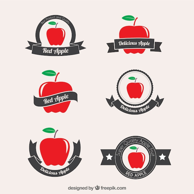 Red apple badges Free Vector