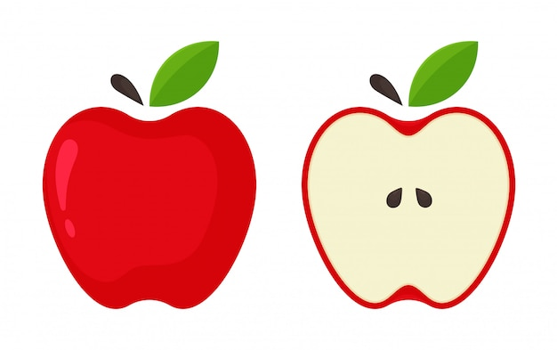 Red apple icon. vector red apples that are split in half from the white background. Premium Vector