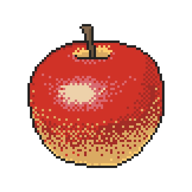 Red Apple Pixel Art On White Background Vector Premium