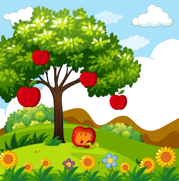 Red apple tree in the park Free Vector
