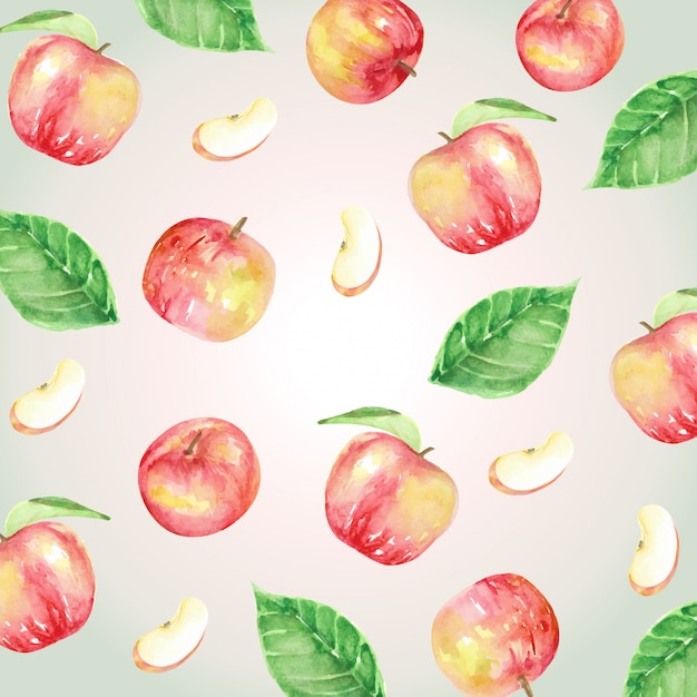 Red apples and leaves pattern watercolor Premium Vector
