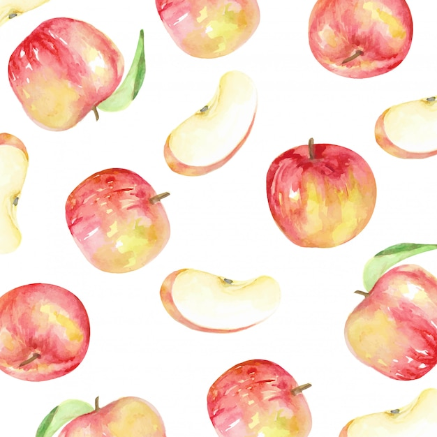 Red apples pattern and slice style watercolor Premium Vector