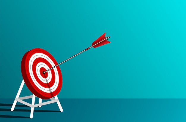 Red arrow darts in target circle. business success goal. on background blue. leadership. Premium Vector