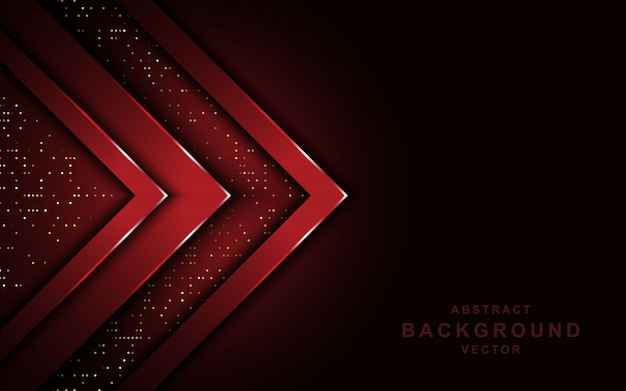 Red arrow overlap layers on dark background with glitters. Premium Vector