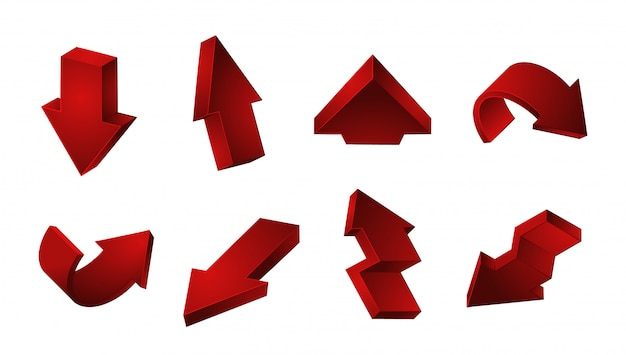 Red arrows collection.  up down recycling arrows  on white background Premium Vector
