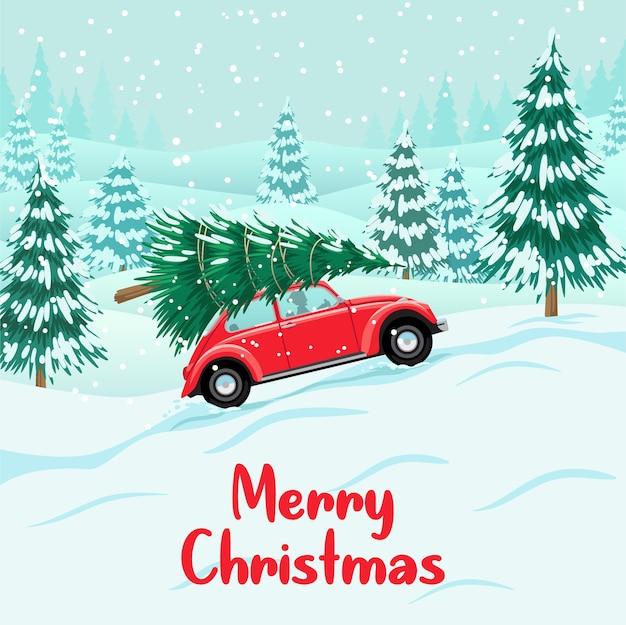 Красный автомобиль с елкой на крыше, снежный лес, подготовка к празднованию Premium векторы