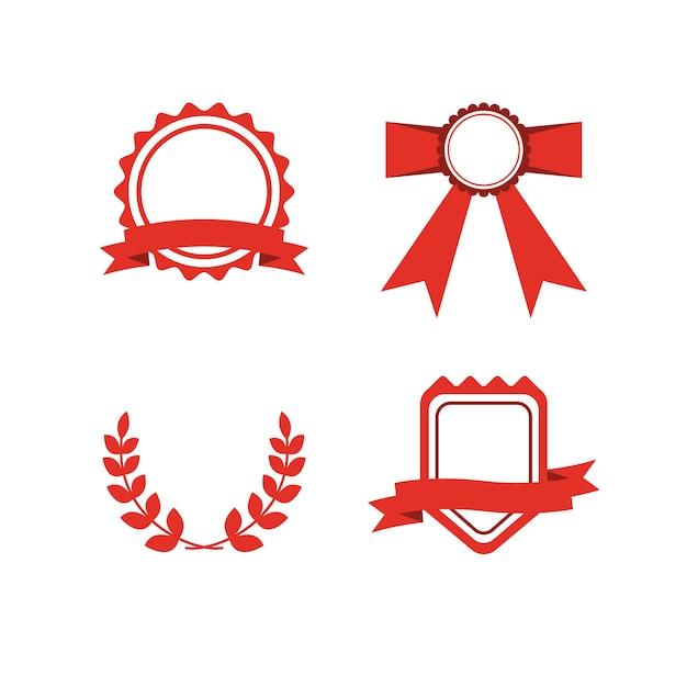 赤い賞ラベルセット Premiumベクター