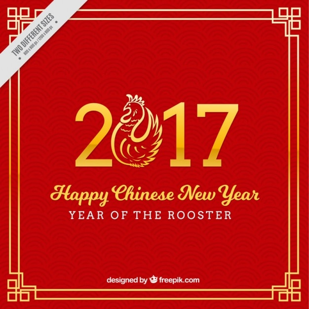 red background for chinese new year with rooster