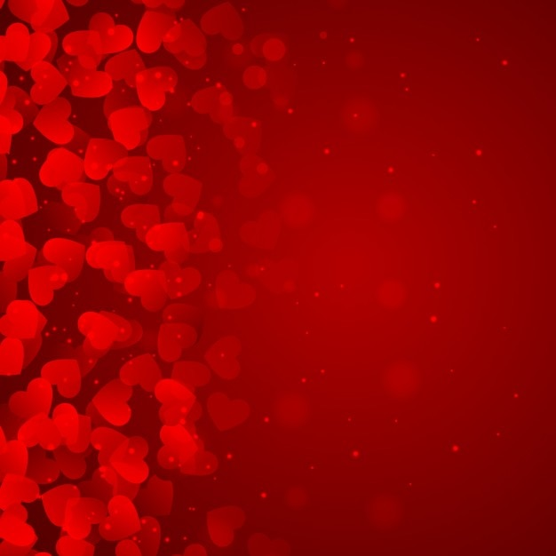 Red background of hearts Free Vector