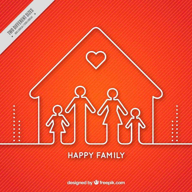Red background of house with family Free Vector