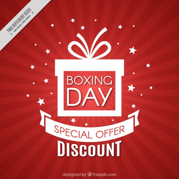 Red background of boxing day discounts Free Vector
